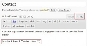 Add the contact form code to the page