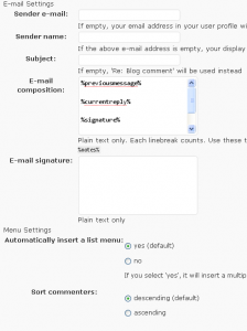 Comment Mailer settings