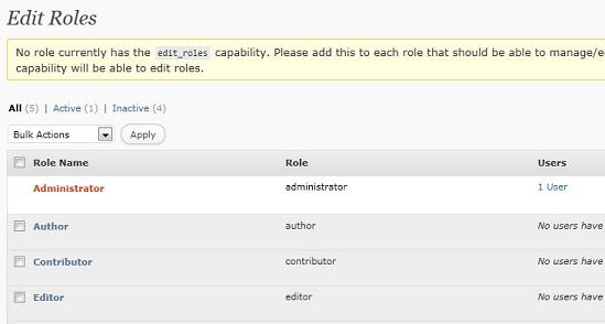 Edit roles