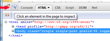 Click to inspect element using Firebug