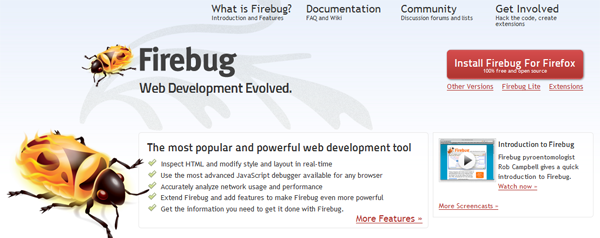 Install Firebug for Firefox