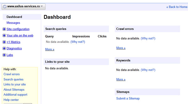 No data to Google Webmaster Tools