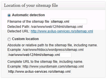Sitemap files location
