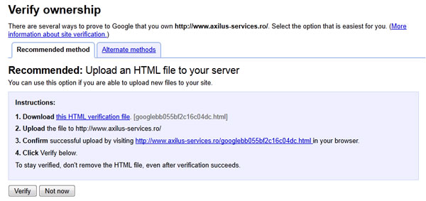 Verify site to Google Webmaster Tools