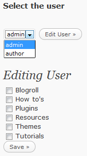 Author2Categories admin