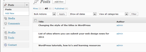 Author view in WordPress